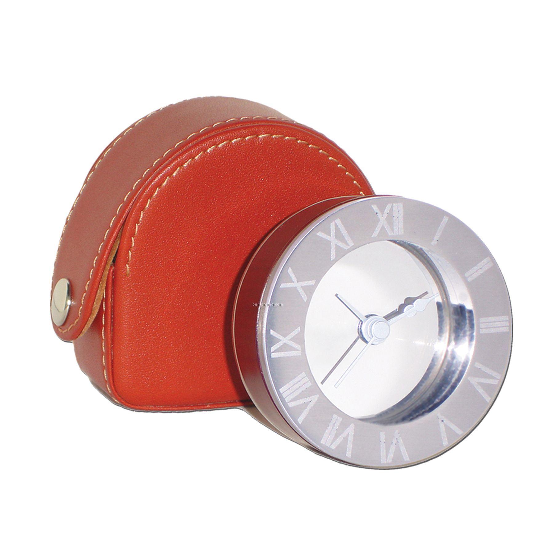 Metal & Wood Alarm Clock W/ Leather Case