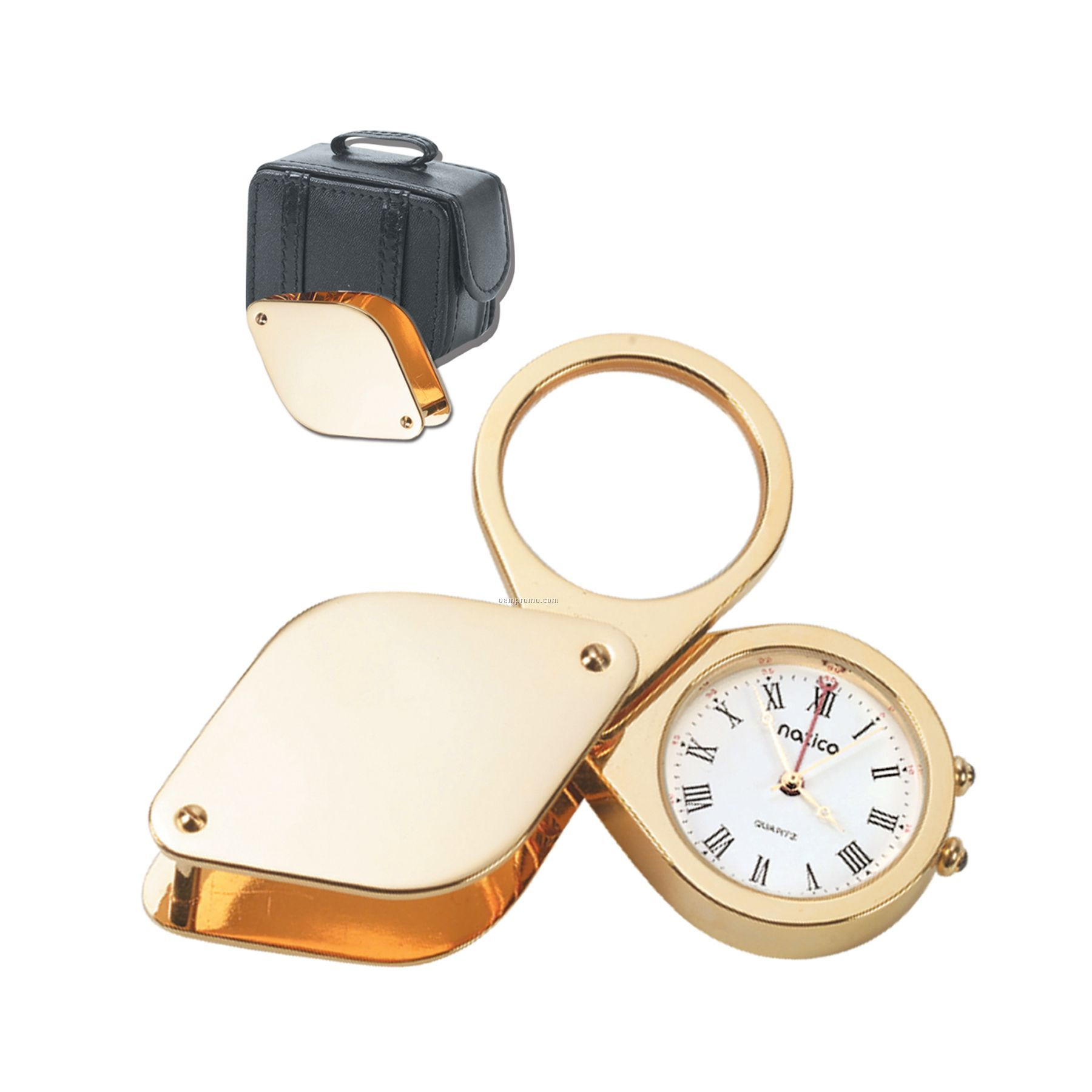 Gold Travel Alarm Clock W/ Magnifying Glass In Leather Case