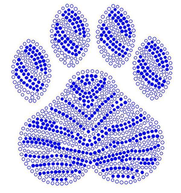 Paw Clear And Blue Rhinestone Transfer