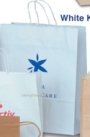 "White Kraft Paper Shopping Tote Bag (16""X6""X19"")"