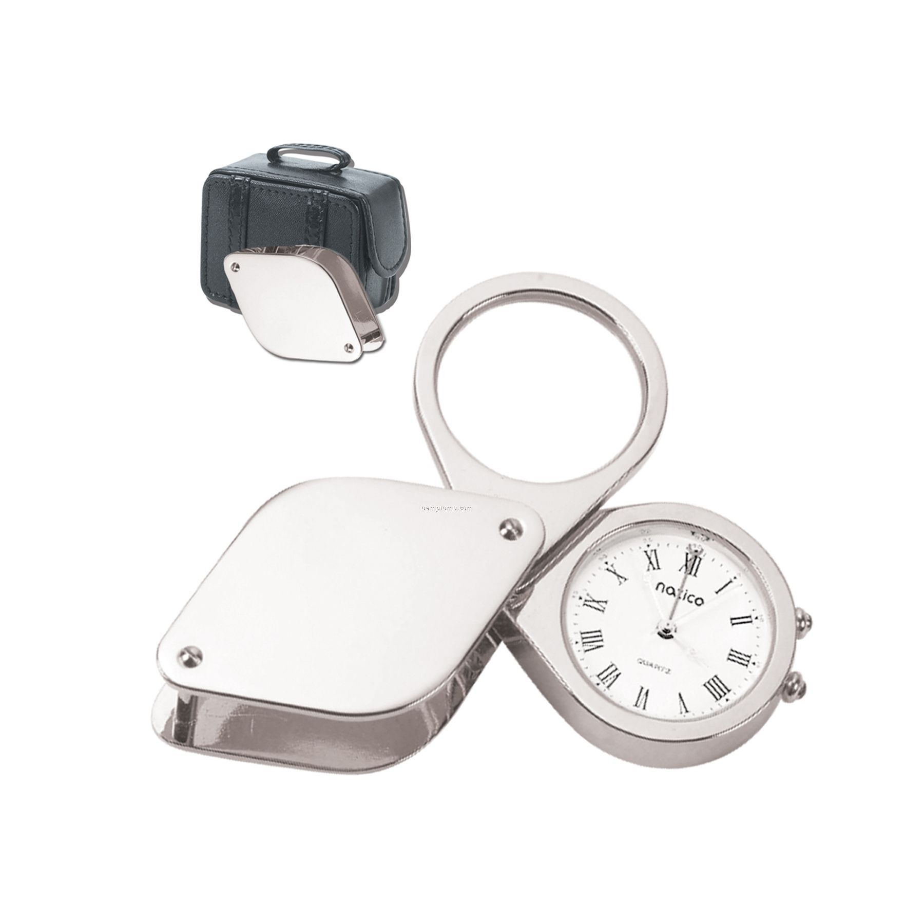 Silver Travel Alarm Clock W/ Magnifying Glass In Leather Case
