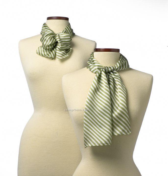 "Wolfmark Saville Stripe Polyester Scarf - Lime Green (45""X8"")"