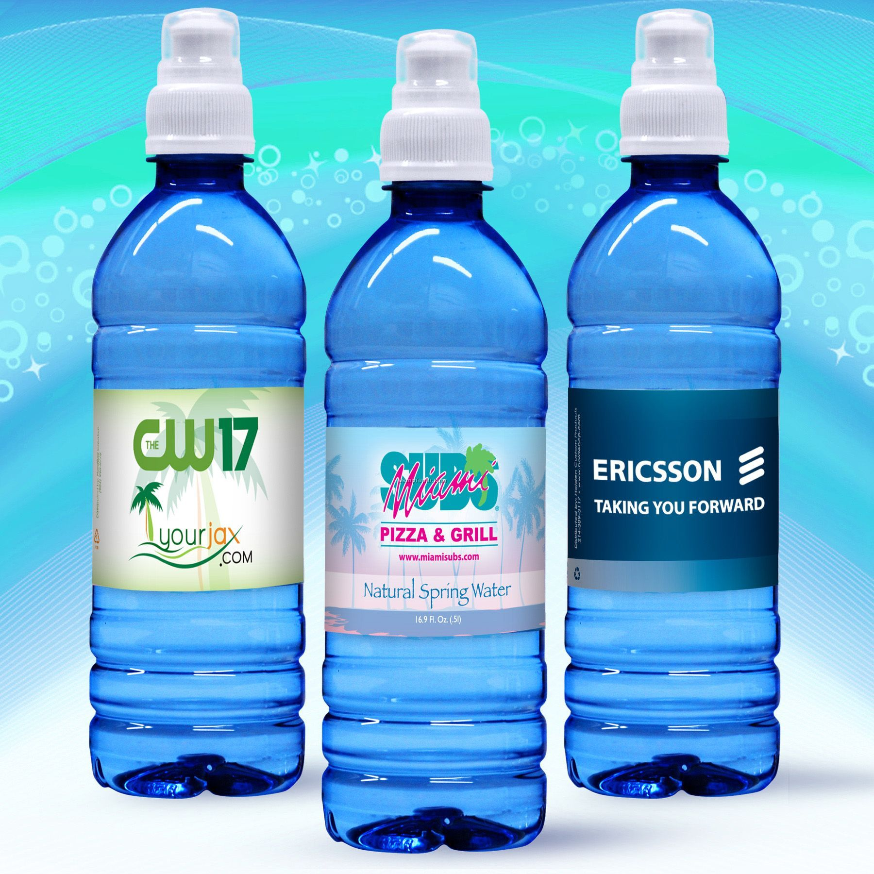 Personalized Sports Bottle Labels: 16.9 Oz. Custom Label Spring Water W/Sport Top