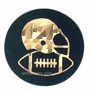 """Black / Gold Hologram Mylar Insert - 2"""" Football"""