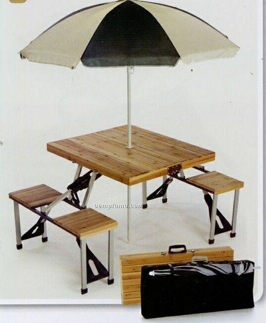 Picnic Plus Wooden 4 Seat Picnic Table W/ Umbrella