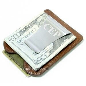 Leather Smart Money Clip - Italian Brown