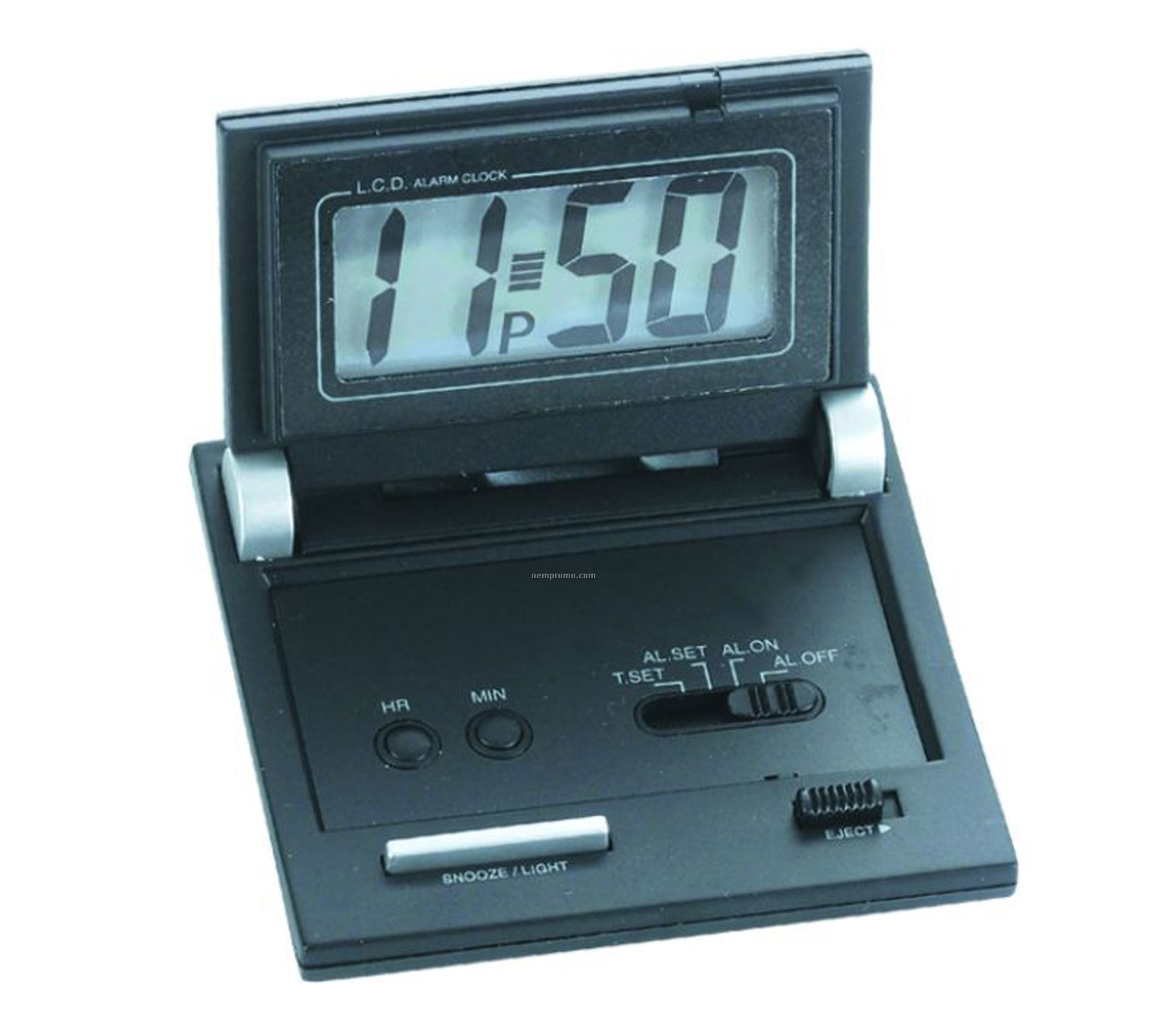Black Folding Travel Alarm Clock