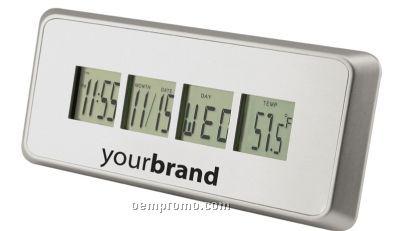 Brushed Metal Multi Display Alarm Clock