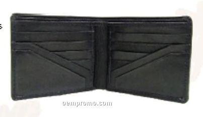 Men's Black Stone Wash Cowhide Double Billfold Wallet