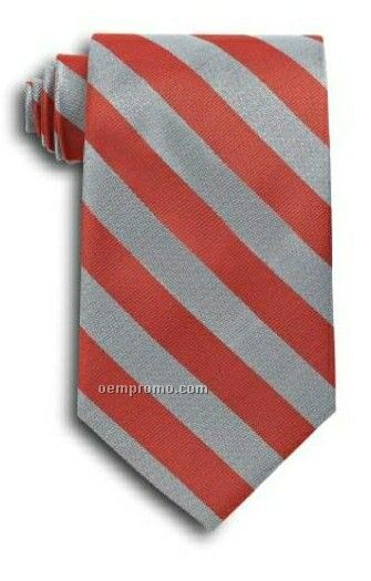 School Stripes Polyester Tie - Red & Gray