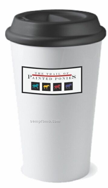 16 Oz. White Double Wall Acrylic On The Go Commuter Mug With Plastic Lid
