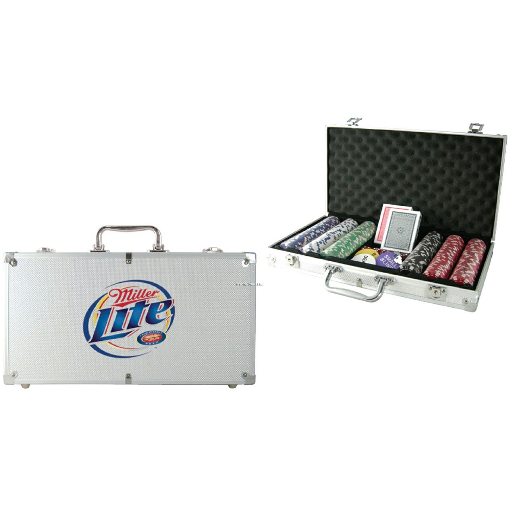 300-piece Poker Chip Set W/Silver Case (Decal Chip Imprint)