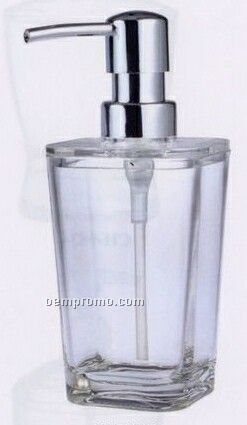 Aspen 10 Oz. Square Acrylic Soap/ Lotion Dispenser Bottle W/ Swirled Bottom