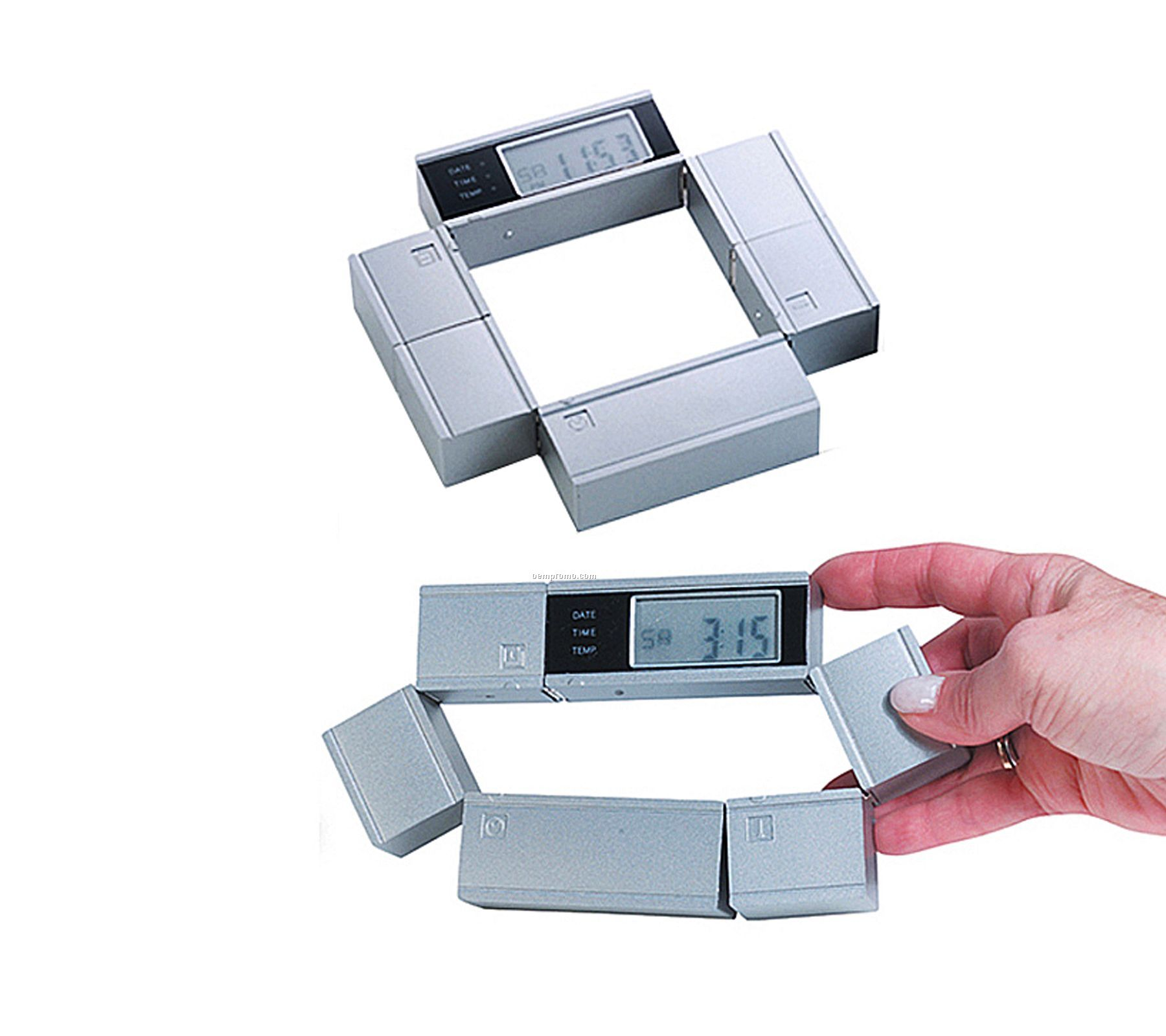 Matte Silver Multi Functional Alarm Clock