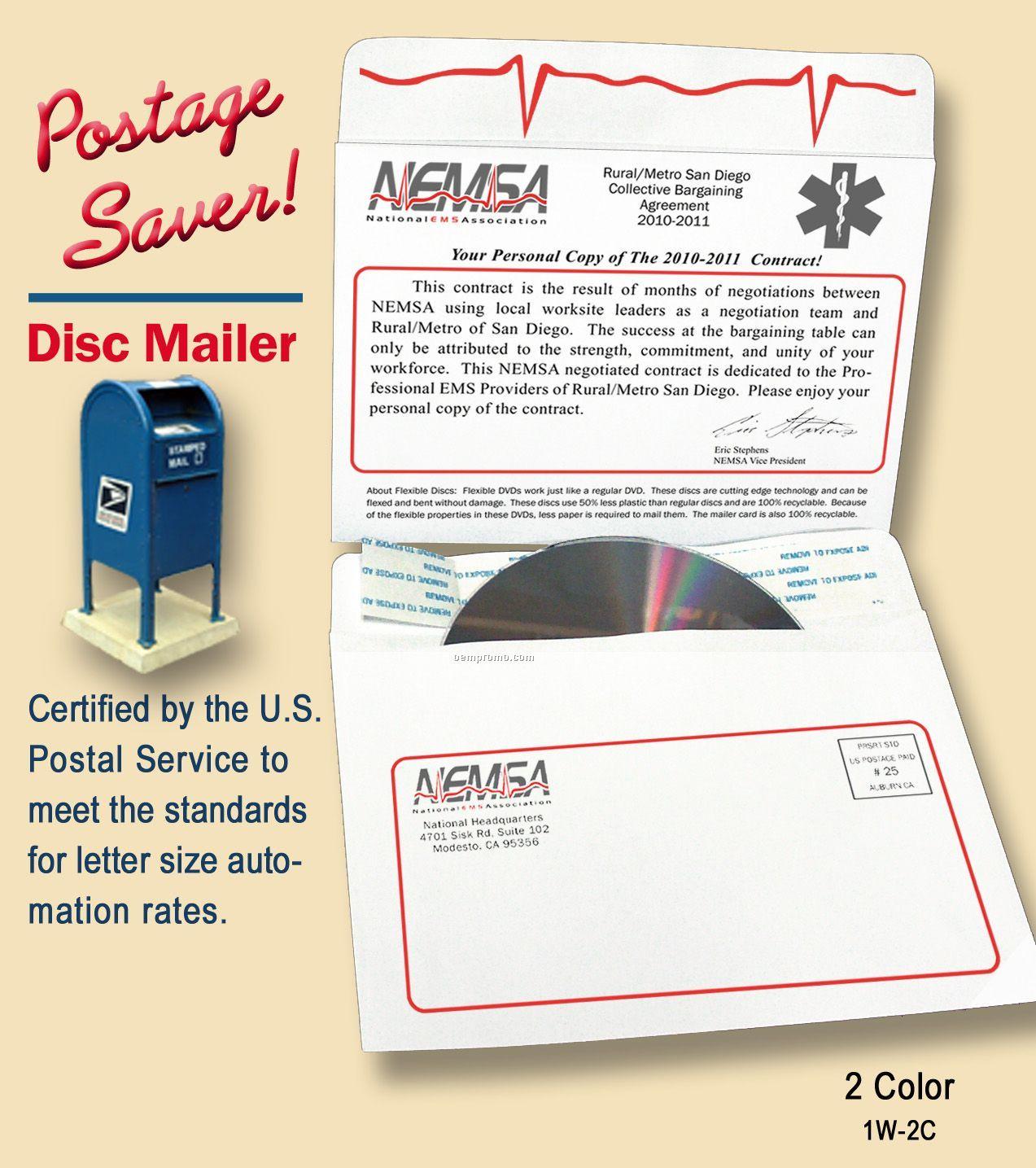 Postage Saver Disc Mailer,2 Color Imprint