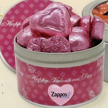"Round Tin W/ Chocolate Foil Hearts (3.125""X2"")"