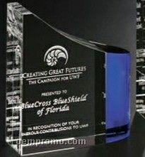 "Indigo Gallery Crystal Faceted Wave Award (6"")"