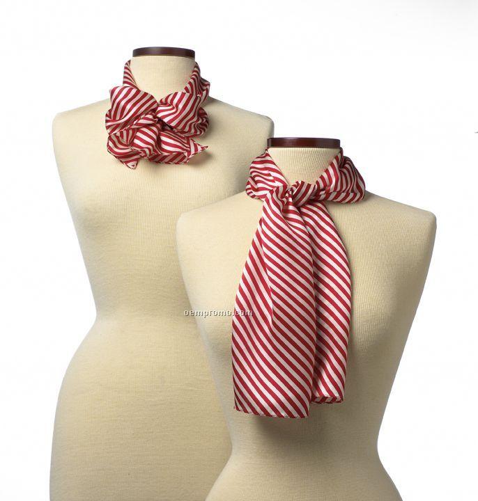 "Wolfmark Saville Stripe Polyester Scarf - Red (45""X8"")"