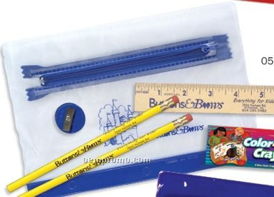 "Clear Translucent Pouch School Kit (2 Pencils/6"" Ruler/Crayon/Sharpener)"