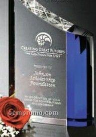 "Indigo Gallery Crystal Faceted Wave Award (8"")"