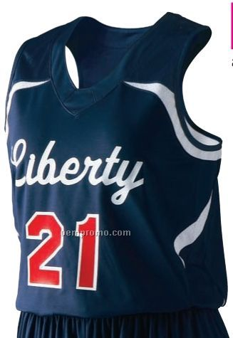 Liberty Ladies Nylon Spandex Basketball Jersey Shirt/ Contrast Trim (Color)