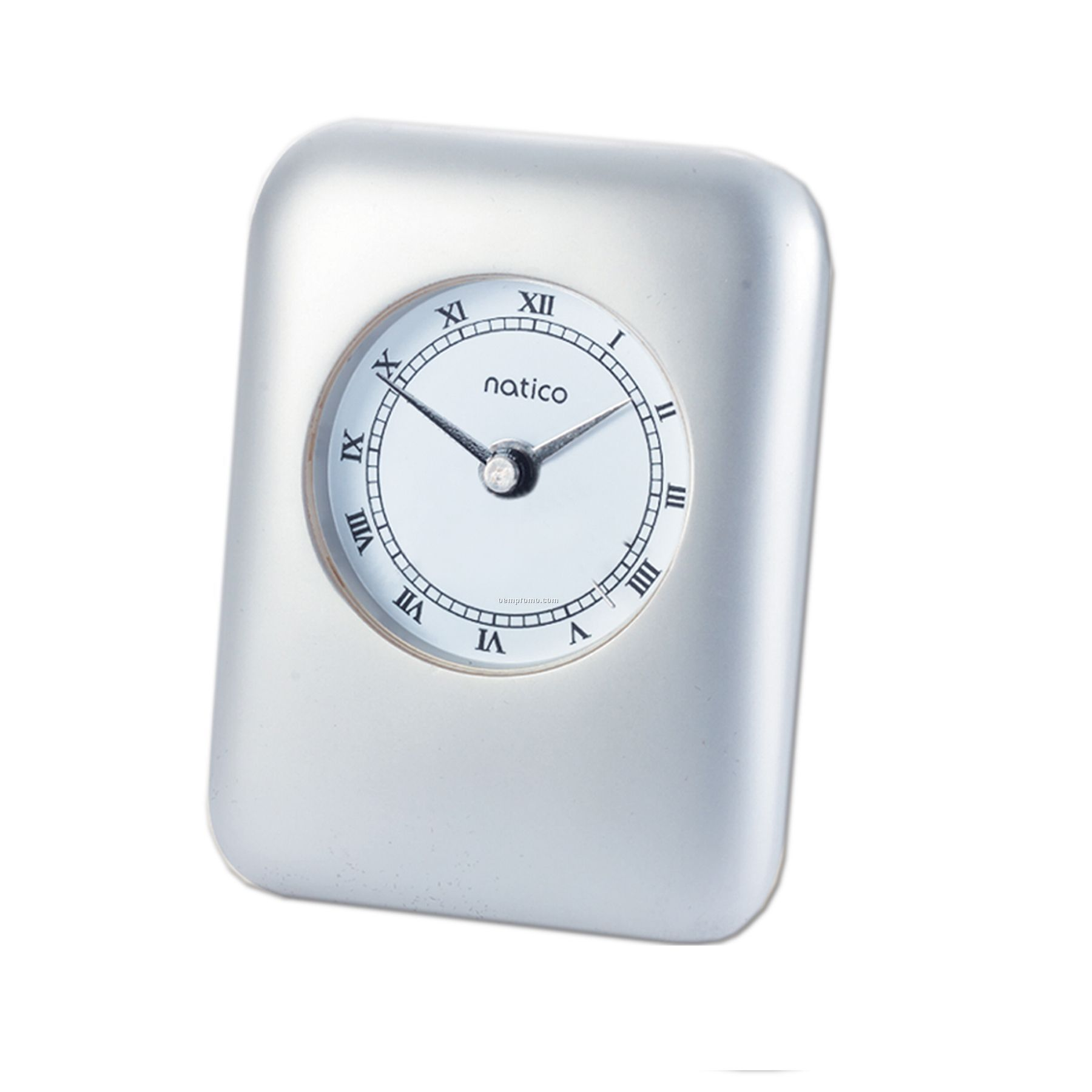 Rectangle Pearl Silver Contemporary Alarm Clock W/ Roman Numerals