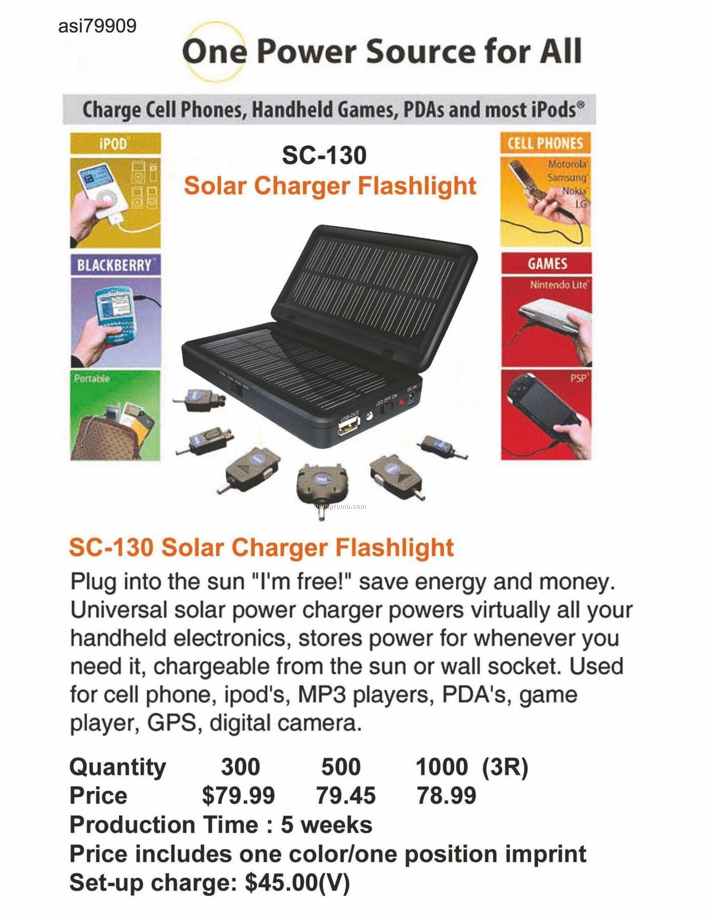 Solar Charger / Flashlight For Iphone, Ipod, Blackberry, Android, Htc