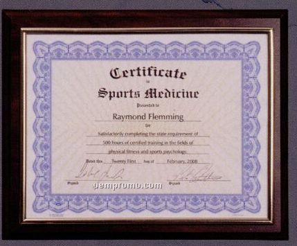 Wood Finish Plaque W/ Gold Border Slide In Certificate Holder (9