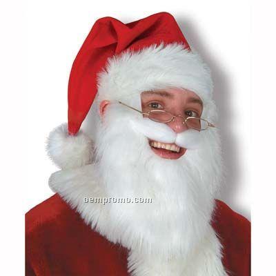 Plush Santa Hat W/ Beard & Moustache