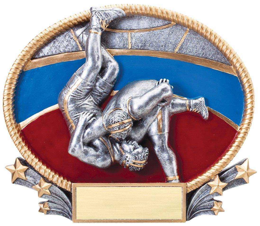 Wrestling, 3d Oval Resin Awards -large