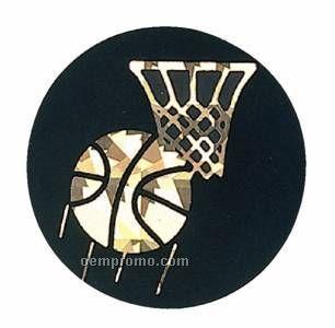 """Black / Gold Hologram Mylar Insert - 2"""" Basketball"""