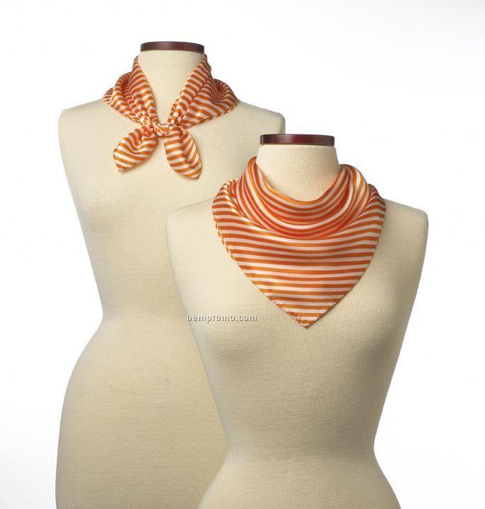 "Wolfmark Saville Stripe Silk Scarf - Orange (21""X21"")"