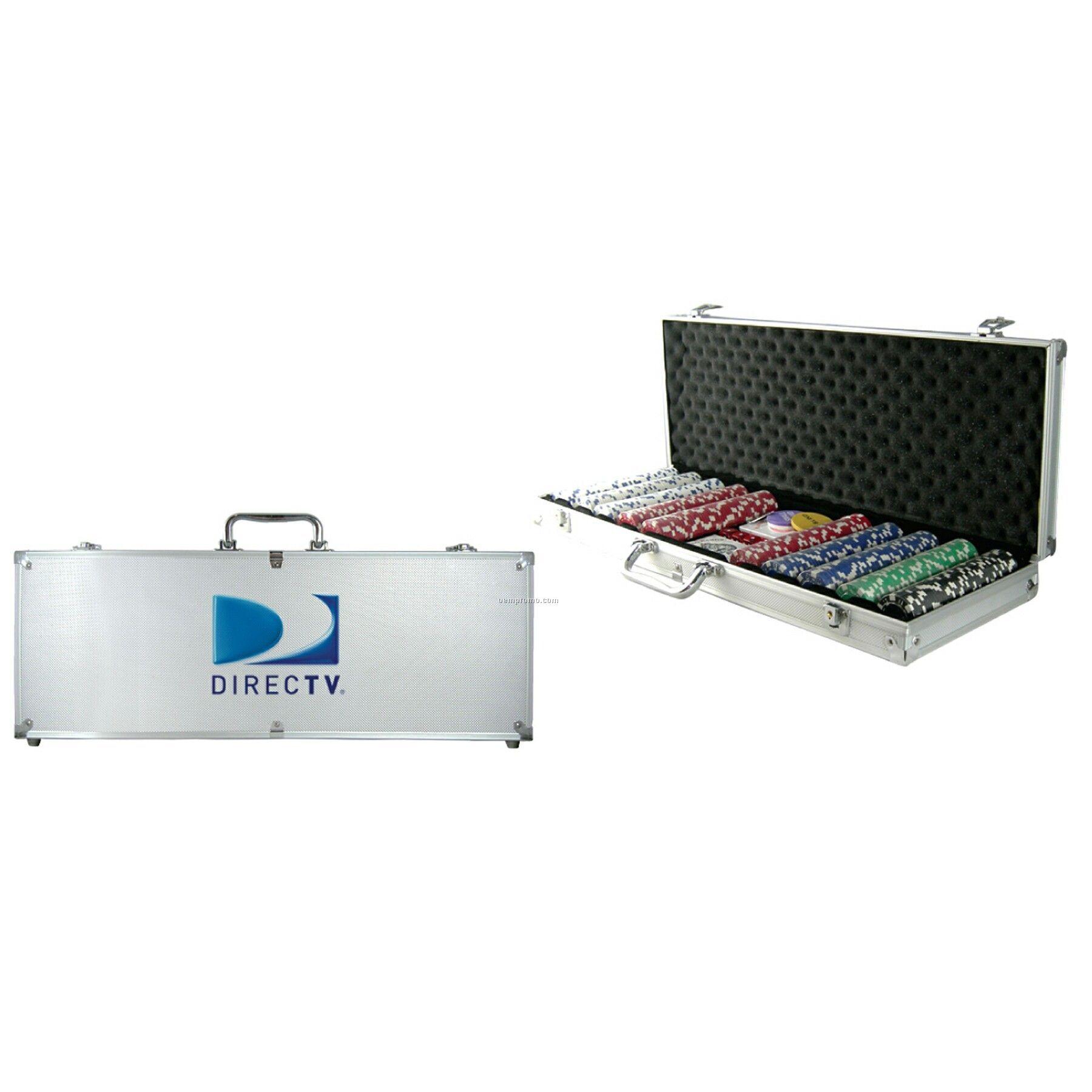 500-piece Poker Chip Set W/Silver Case (1 Side Chip Imprint)