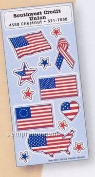 Patriotic Removable Adhesive Sticker Sheet W/ United States Flags