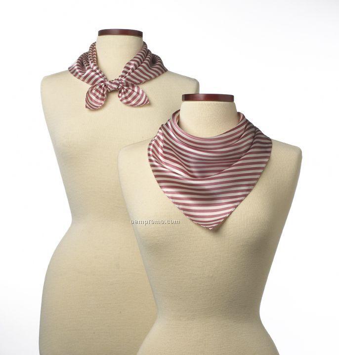 """Wolfmark Saville Stripe Silk Scarf - Pink (21""""X21"""")"""