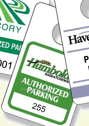 """4-color Process White Gloss Plastic Parking Tag (2.4""""X3.9"""")"""