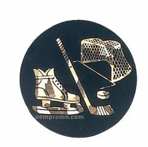 """Black / Gold Hologram Mylar Insert - 2"""" Hockey"""