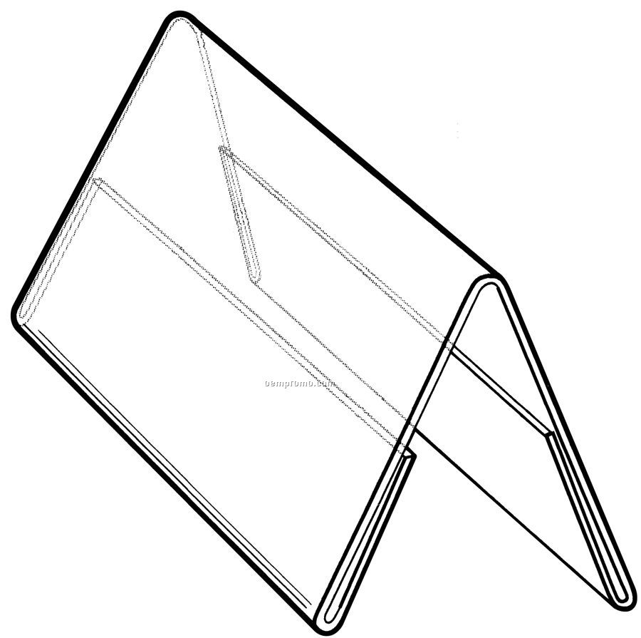 Clear acrylic slant back sign holder w brochure pocket for Double sided name tent template