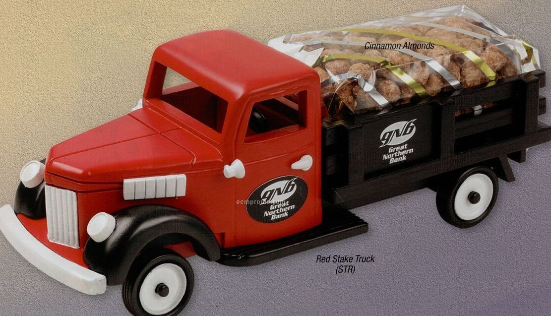 Wooden Red Stake Truck W/ Deluxe Mixed Nuts (No Peanuts)