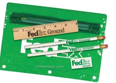 "Premium Translucent Pouch School Kit (2 Pencils/6"" Ruler/Pen/Sharpener)"