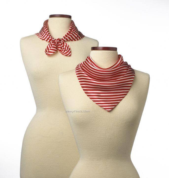 """Wolfmark Saville Stripe Silk Scarf - Red (21""""X21"""")"""