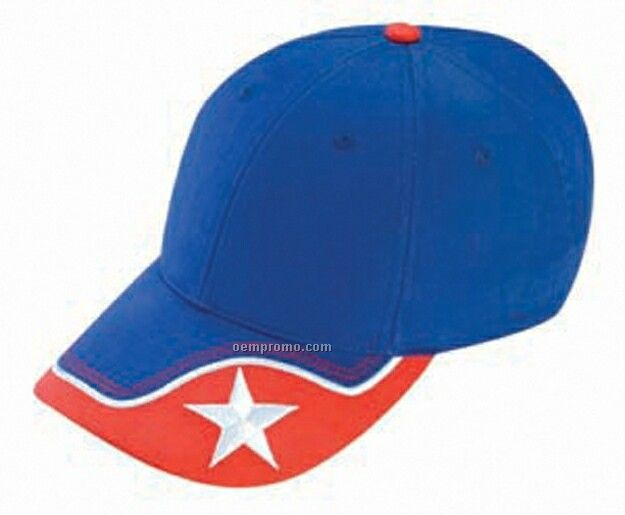 Constructed Brushed Cotton Low Profile Cap W/ Star Embroidered Visor