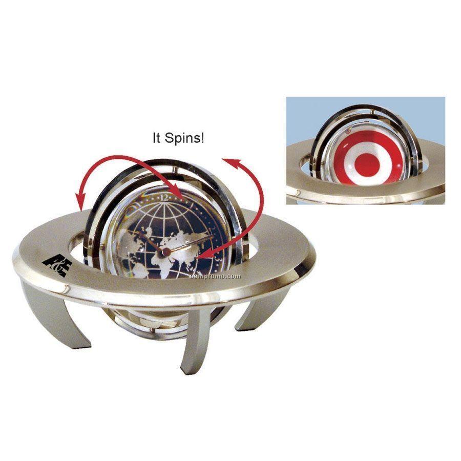 Orbital Spinning Gyro Globe Clock