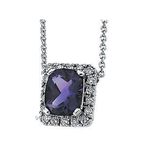 14kw Genuine Amethyst And 1/2 Ct Tw Diamond Necklace