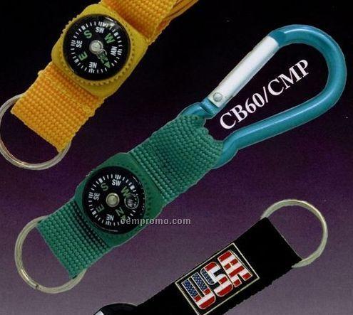 Carabiner W/ Nylon Strap & Compass