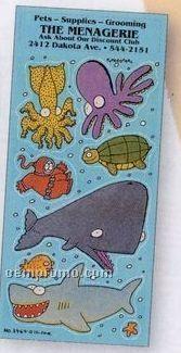 Charlie Cartoon Sticker Sheet W/ Ocean Animals & Diver