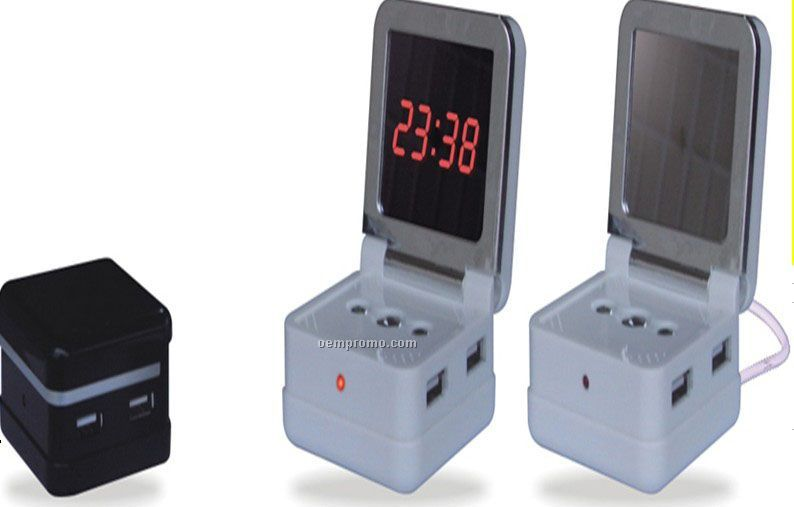 USB Hub With Mirror And Alarm Clock