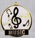 "2"" Color-filled Stock Medal - Music"
