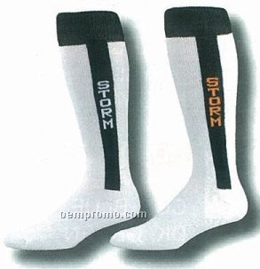 2 In 1 Knit In Stirrup Baseball Socks W/ Custom Heel & Toe (10-13 Large)