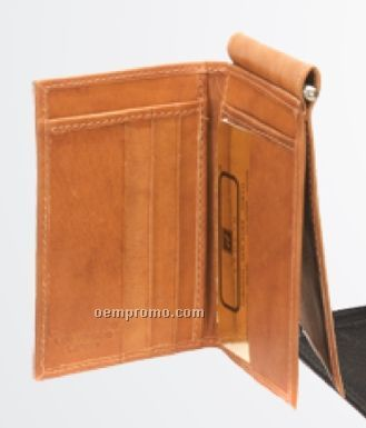 Black Cowhide Money Clip & 6 Credit Card Case